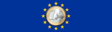 Imagen del diseño de la bandera de la U.E. con una moneda de un euro en el centro
