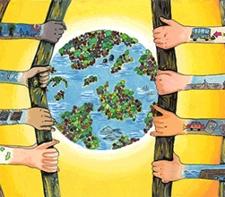 Dibujo de manos abriendo el mundo al desarrollo sostenible